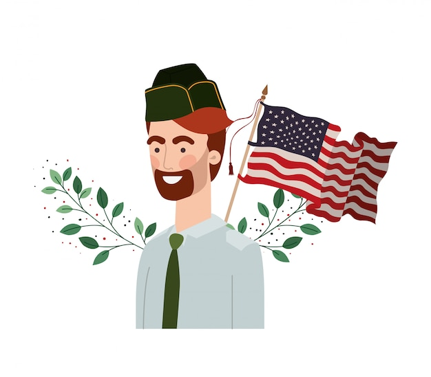 Homem soldado da guerra com a bandeira dos estados unidos
