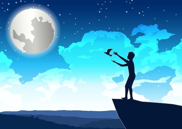 Homem solta pássaro em paz no penhasco, ilustração noturna