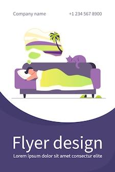 Homem sonhando com o mar e dormindo no sofá com o gato. modelo de folheto plano de casa, animal de estimação, férias