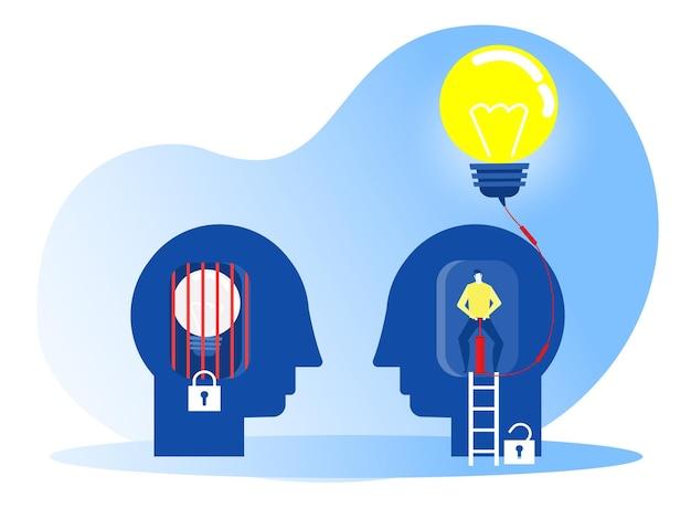 Homem soprando lâmpada pela mentalidade de crescimento da bomba de ar com ilustrador de conceito de mentalidade de correção diferente