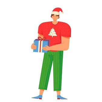 Homem sorridente com chapéu vermelho de ano novo segurando um presente de natal estilo cartoon plana