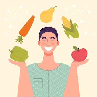 Homem sorridente com vegetais e frutas nas mãos