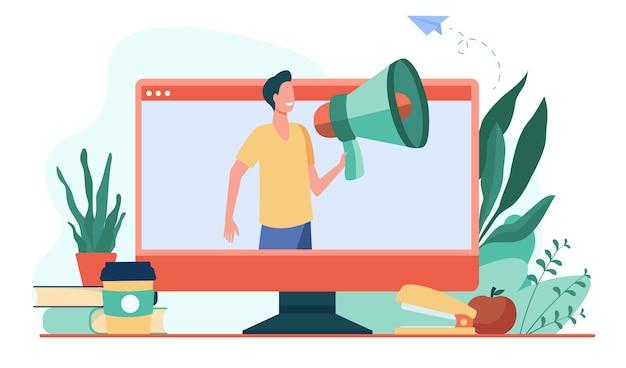 Homem sorridente, falando no alto-falante do monitor. mídia social, computador, ilustração vetorial plana online. comunicação e tecnologia digital