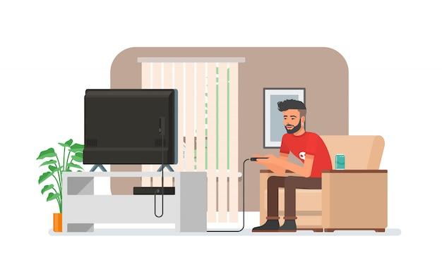 Homem sorridente jogando videogame em casa. ilustração com o cara hipster senta-se no sofá, detém o controlador de jogo e assiste tv. interior do quarto em design de estilo simples