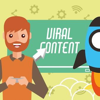 Homem sorridente smartphone em foguete de conteúdo viral de mãos