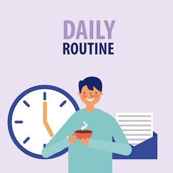 Homem sorrindo com relógio e café, estilo simples