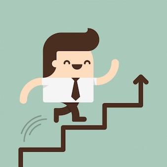 Homem subindo por uma escada