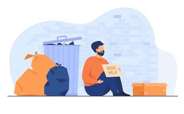 Homem sujo sem-teto sentado no chão com placa de identificação precisa de ajuda isolada ilustração vetorial plana. pobre desesperado dos desenhos animados sentado na rua perto do lixo. conceito de caridade e desemprego