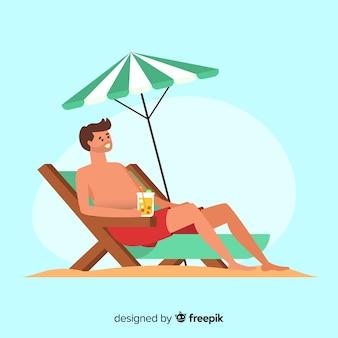Homem, sunbathing, ligado, um convés, cadeira