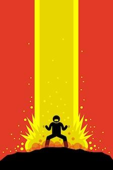 Homem superpoderoso cobrando no estilo anime