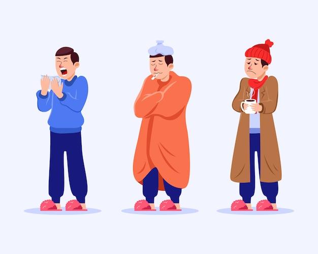 Homem tem coleção de ilustração vetorial de gripe