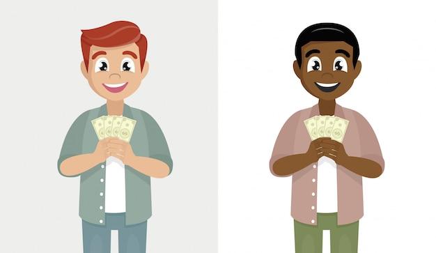 Homem tem na mão dinheiro. homem segurando notas de moeda.
