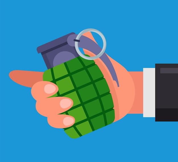 Homem tem uma granada de combate nas mãos. ilustração plana