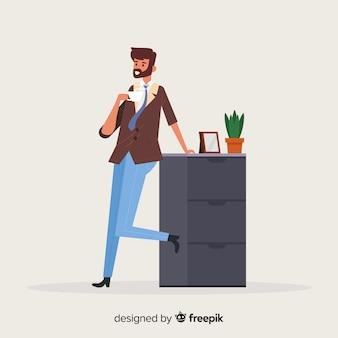 Homem, tendo, um, xícara café, fundo