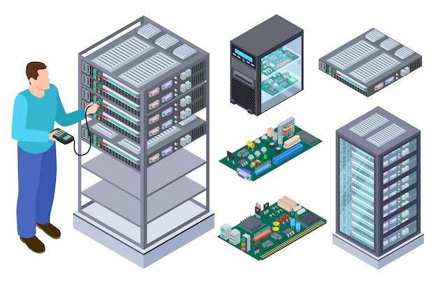 Homem testa equipamentos de informática. testador de controle de qualidade, placas-mãe e coleção isométrica de vetores de armazenamento de dados