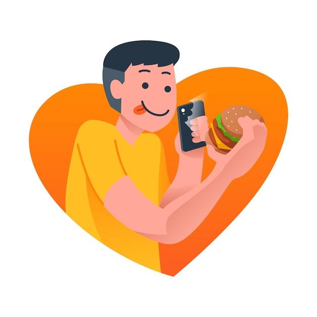 Homem tirando foto do hambúrguer