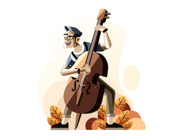 Homem, tocando, baixo dobro, ilustração