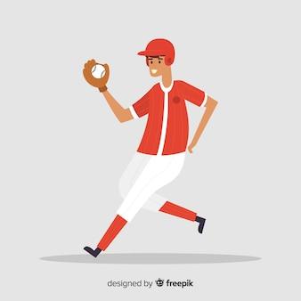 Homem, tocando, basebol, fundo