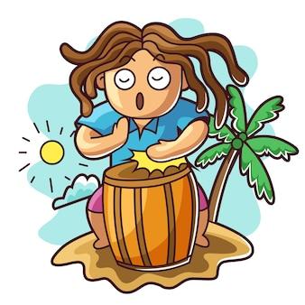 Homem, tocando, étnico, tambor, praia