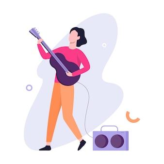 Homem tocando guitarra elétrica. músico em concerto. passatempo criativo. ilustração em grande estilo