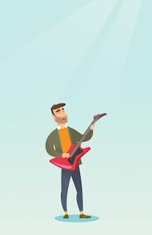 Homem tocando guitarra elétrica.