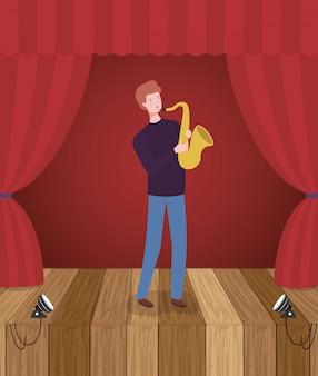 Homem tocando personagem de avatar saxofone