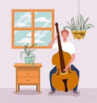 Homem tocando personagem instrumento violoncelo