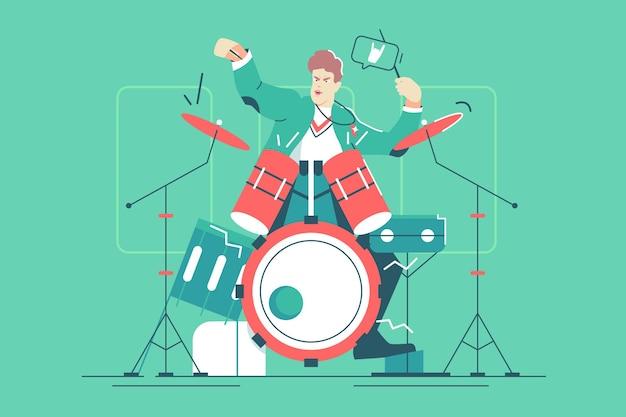 Homem tocando tambor ilustração vetorial de instrumento musical. músico de jazz cara batendo tambor definido com estilo simples de paixão. música, rock, hobby, conceito de lazer. isolado em fundo verde