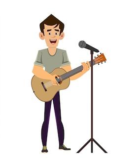 Homem tocando um violão e cantando a canção