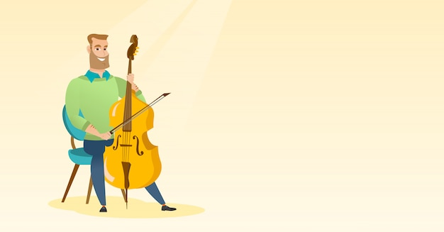 Homem, tocando, violoncelo