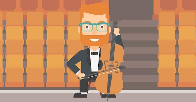 Homem tocando violoncelo.