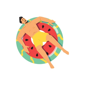 Homem tomando banho de sol na melancia, ilustração em vetor plana com boia salva-vidas isolada