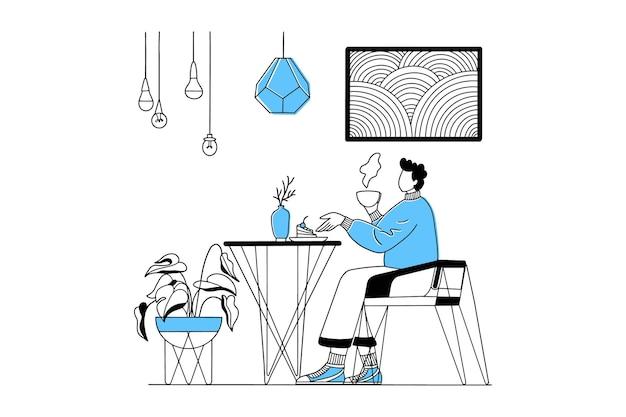 Homem tomando café e comendo em um café ou restaurante