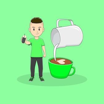 Homem tomando uma xícara de café com latte art design