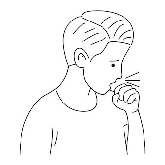 Homem tossindo doente de vírus