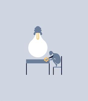 Homem trabalhador. composição vetorial em estilo simples
