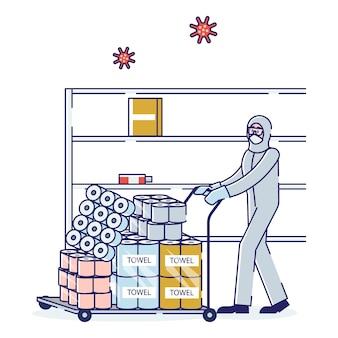 Homem trabalhador de armazém de supermercado com roupas de proteção carregando um carrinho
