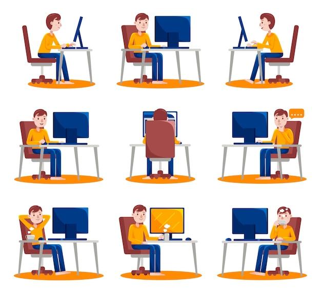 Homem trabalhando com computador em casa