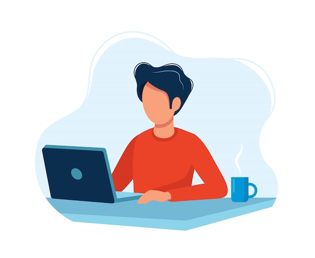 Homem, trabalhando, com, computador