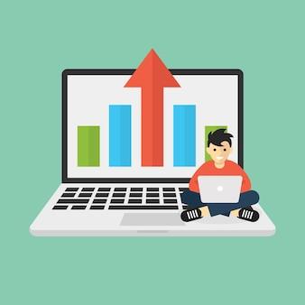 Homem trabalhando com laptop representa infográfico analítico e estatístico do aspecto do negócio de crescimento