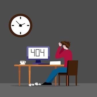 Homem trabalhando e erro 404 no computador na ilustração dos desenhos animados à noite