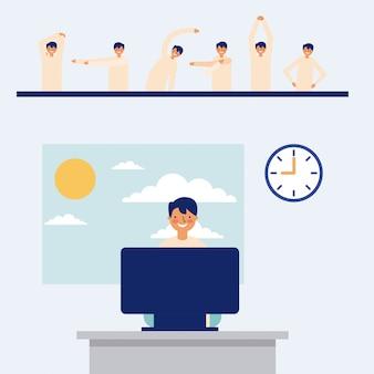 Homem trabalhando e fazendo pausas ativas