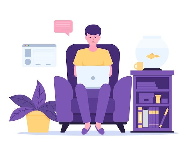 Homem trabalhando em casa sentado na cadeira com um laptop