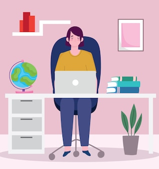 Homem trabalhando em um laptop na mesa do escritório, pessoas trabalhando na ilustração