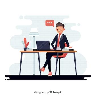 Homem, trabalhando, escritório