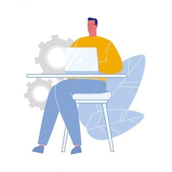 Homem, trabalhando, laptop, apartamento, vetorial, ilustração