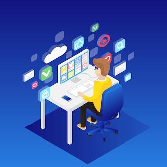 Homem, trabalhando, ligado, computador desktop