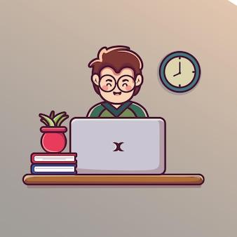 Homem trabalhando na ilustração de desenho animado de laptop