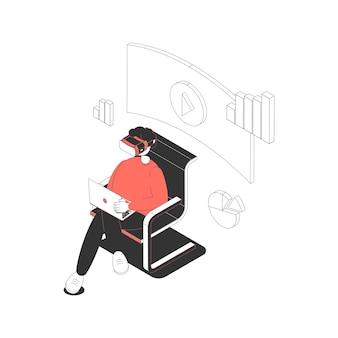 Homem trabalhando no computador enquanto usa fone de ouvido de realidade virtual isométrica