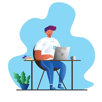 Homem trabalhando no conceito de computador portátil